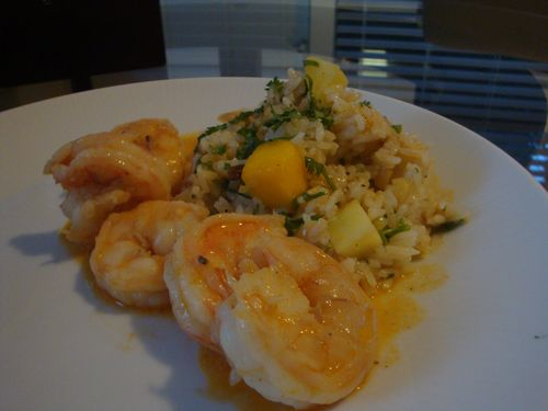 Shrimp in Coconut Curry Sauce with Caribbean Fried Rice